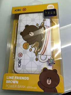 Line Friends x ICBC - Brown 熊大 8000mAh 行動電源 充電寶 尿袋 外置充電器 (8,000mAh)