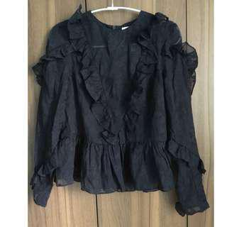 Black See-Through Top Long Sleeve H&M XS