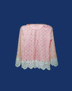 baby pink lace long sleeves