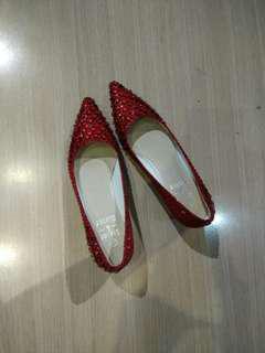 敬酒紅色閃石高跟鞋 heels