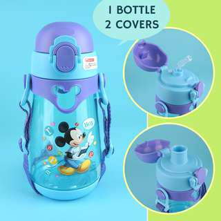 ✳️Free Gift✳️Disney Kids Water Bottle 2-in-1 Straw and Direct Drink Interchangeable BPA-Free 550ml