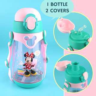 ✳️Free Gift✳️Disney Kids Water Bottle 2-in-1 Straw and Direct Drink Interchangeable BPA-Free 550ml (Birthday Gift)