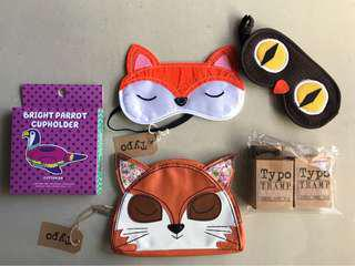 Typo Fox Pouch Wallet Purse, Sleep Masks, Cupholder & Stamps