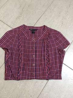 Mango checkered office blouse