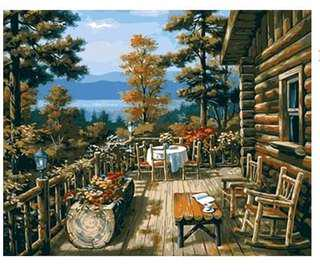 PAINT BY NUMBERS : LOG CABIN IN THE WOODS