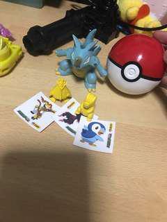 Pokemon figurines and Pokeball