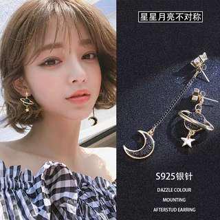 Planet and star Korean earring