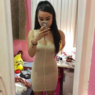 Bardot nude bodycon dress