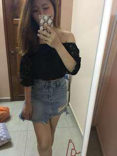 Off Shoulder Black lace Top