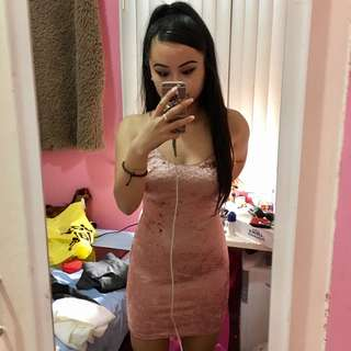 Pink crush velvet bodycon dress