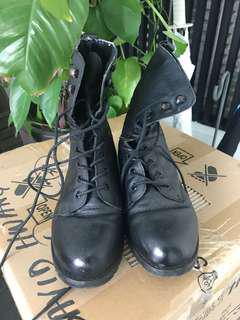 Black Army Lace Leather Boots with Inner Fleec