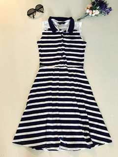 Dorothy Perkins Navy Blue White Stripe Collared Sailormoon Dress with Lace Accent