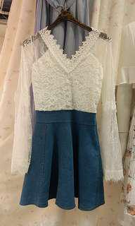韓國白色Lace拼牛仔布連身裙