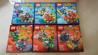 BNIB Lego 76061 76062 76063 76064 76065 76066 DC Marvel Super Heroes Mighty Micros Set of 6 box