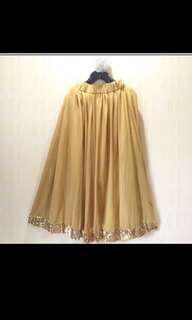 Tulle gold maxi skirt long skirt