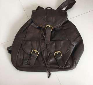 genuine leather backpack (Dark brown)