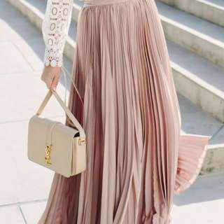 Size 8 | Pale Pink Pleated Maxi Skirt