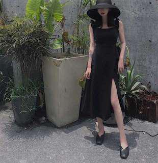 Black Summer Midi Dress (Thick Quality)