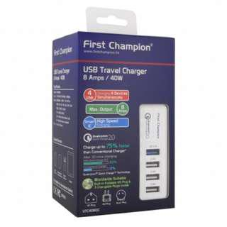 FIRST CHAMPION - USB旅行充電器(40W快充) - UTC408QC USB Travel Charger QC2.0 (4USB 3個2.4A 1個QC2.0 快速充電 內有旅行轉換插頭) #GOGOVAN50