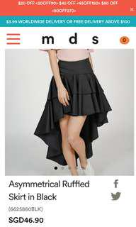 MDS - Asymmetrical Ruffled Skirt in Black in XS