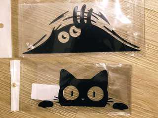 Cute Peeking Monster/ Cat Car Sticker