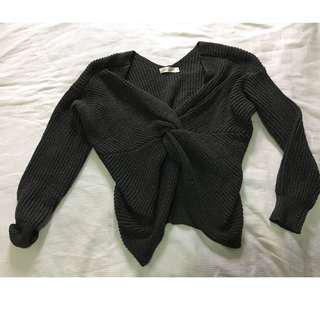 Reversible Grey Twist Knit Jumper S/M