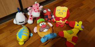 Assorted Baby Toys, iron man,  Spiderman,  pink giraffes, silkair, nemo