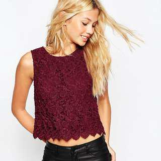 ASOS All Over Lace Shell Top in Oxblood