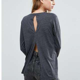 ASOS T-Shirt with Long Sleeves and Split Back in Grey