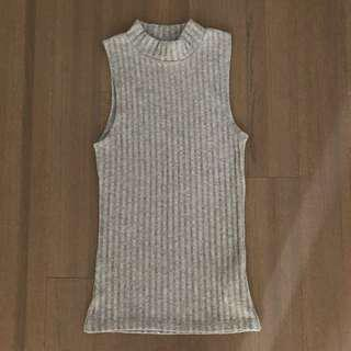 Ribbed Turtle Neck Tank Top