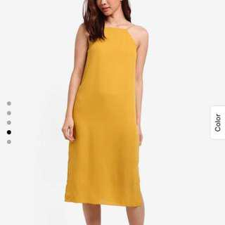 🚚 Zalora Halter Cami Midi Dress in Yellow