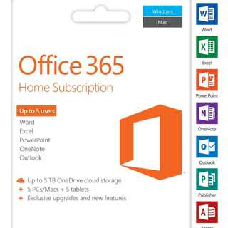 Office 365 with 2016 Pro Plus 5 PC/MAC+5TB Lifetime Subscription Account