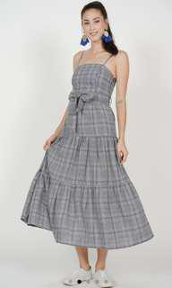 BNWT MDS Gathered Maxi Dress in Navy Checks