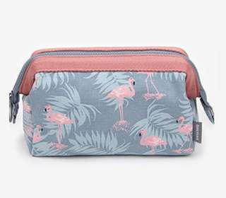 Makeup / Cosmetic Bag (Flamingo Pattern)