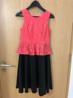 Orange (lace top) / Black (flair skirt) - 1 piece dress