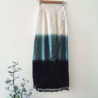 Tie dye blue maxi skirt