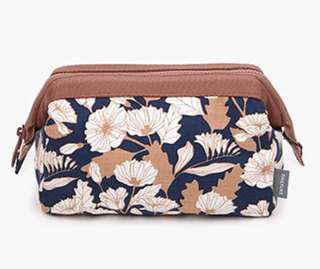 Makeup / Cosmetic Bag (Brown Floral)