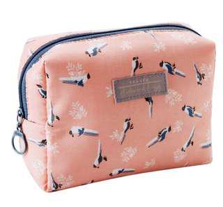Makeup / Cosmetic Bag (Pink Bird)