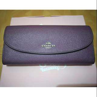 COACH 紫色長夾