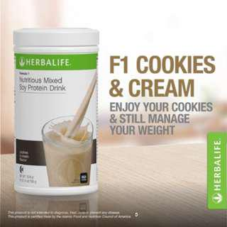 Herbalife F1 Nutritional Shake Mix Cookies and Cream Canister 550g