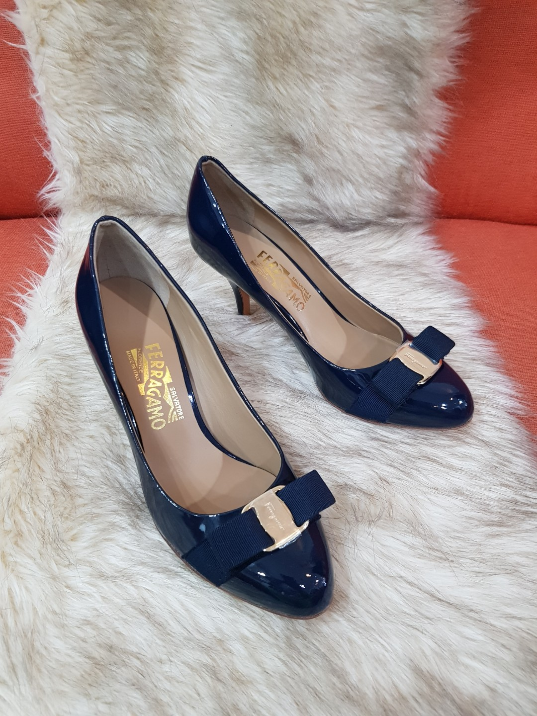 443e51ef929 Authentic Salvatore Ferragamo In Navy Blue Patent Leather Pumps Size ...