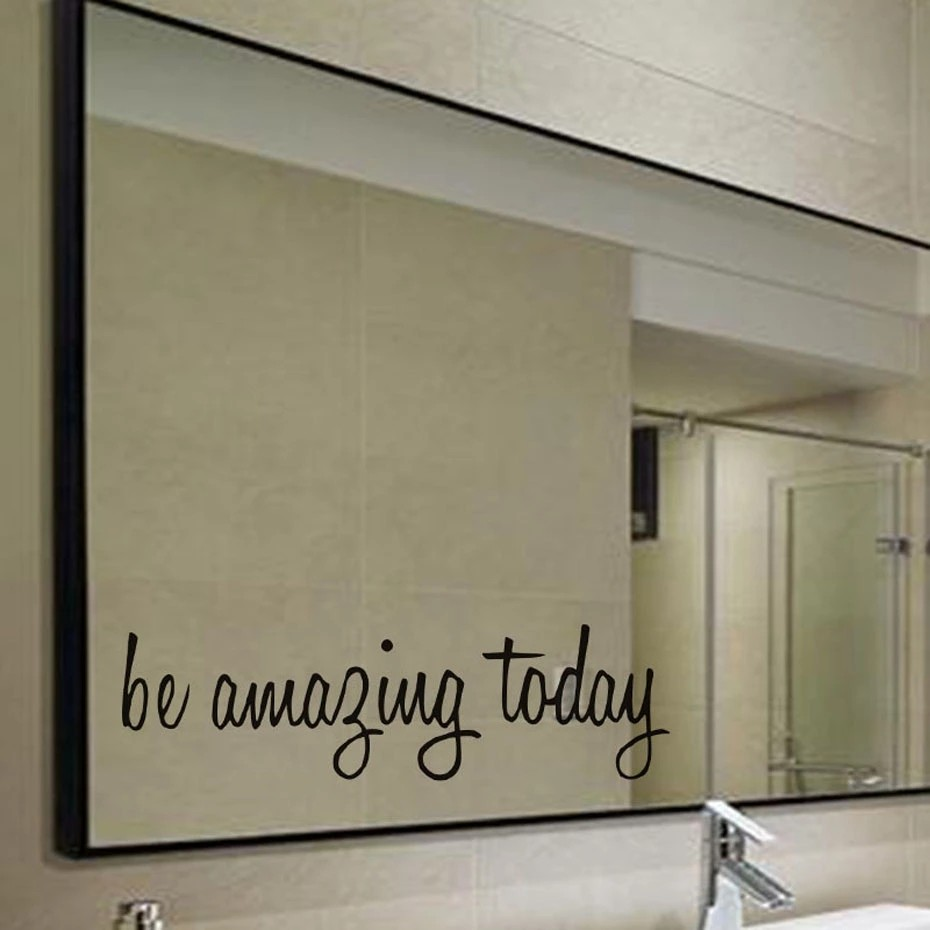 Be amazing today quote waterproof wall stickers for toilet bathroom mirror decor wall art decals home decoration accessories home appliances