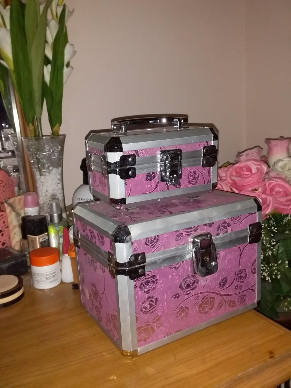 Beauty case big pink rose motif tempat make up portable