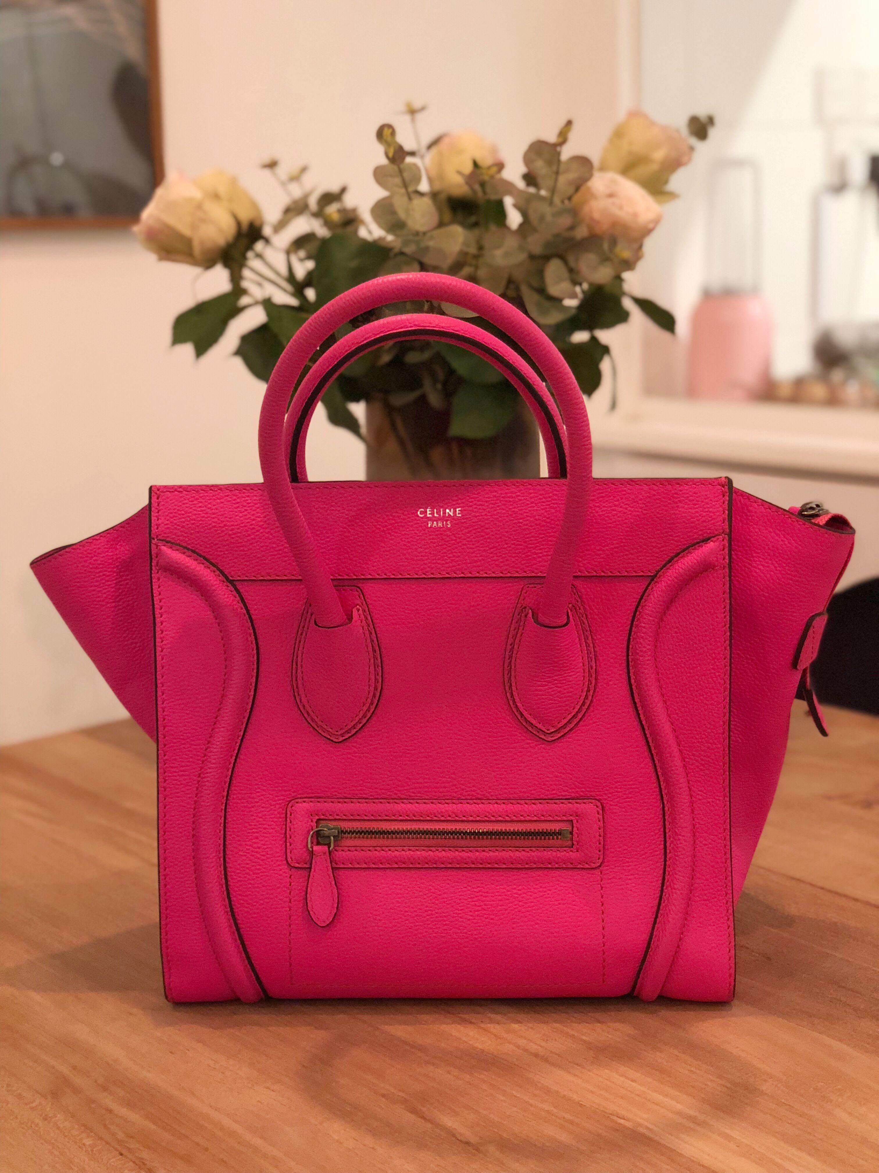 5374bf0ba4eb Celine Mini Luggage in fluorescent neon pink