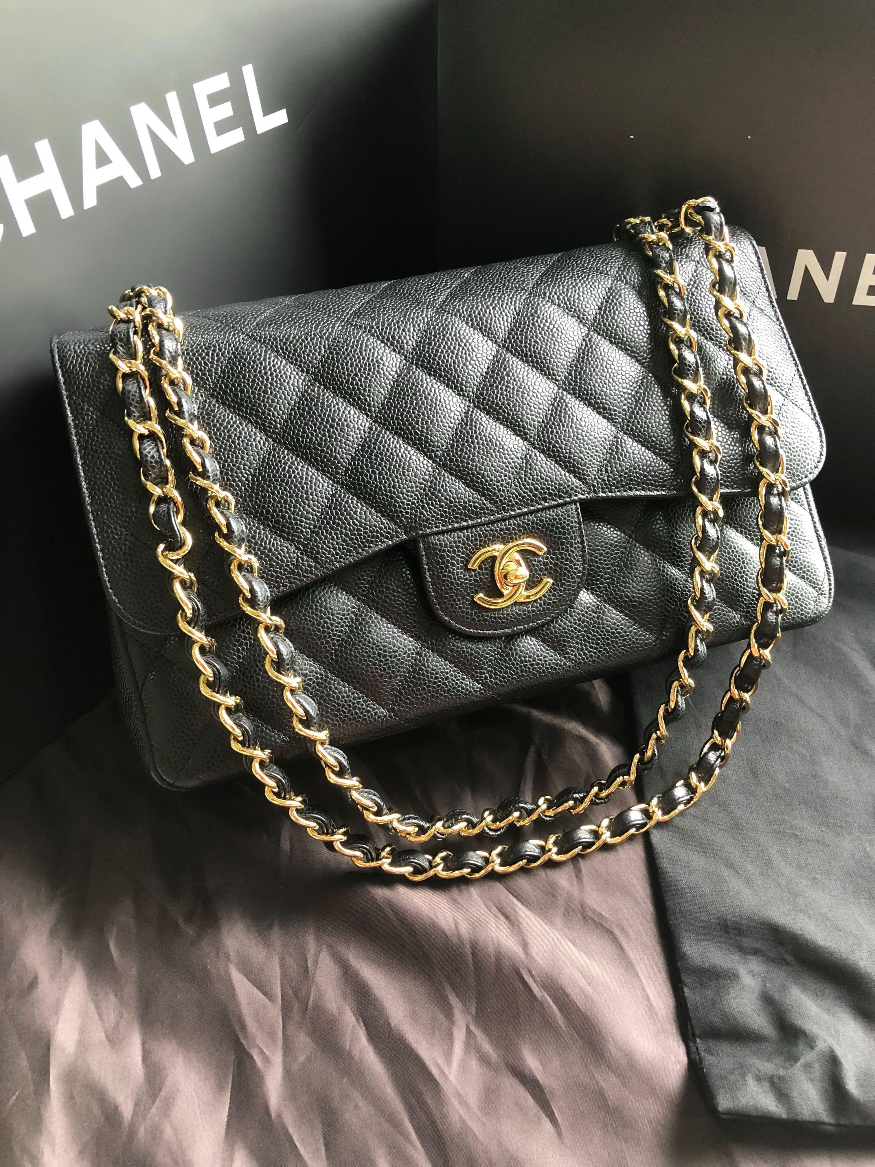 08071443bb94 Chanel Caviar Jumbo GHW Double Flap, Luxury, Bags & Wallets ...
