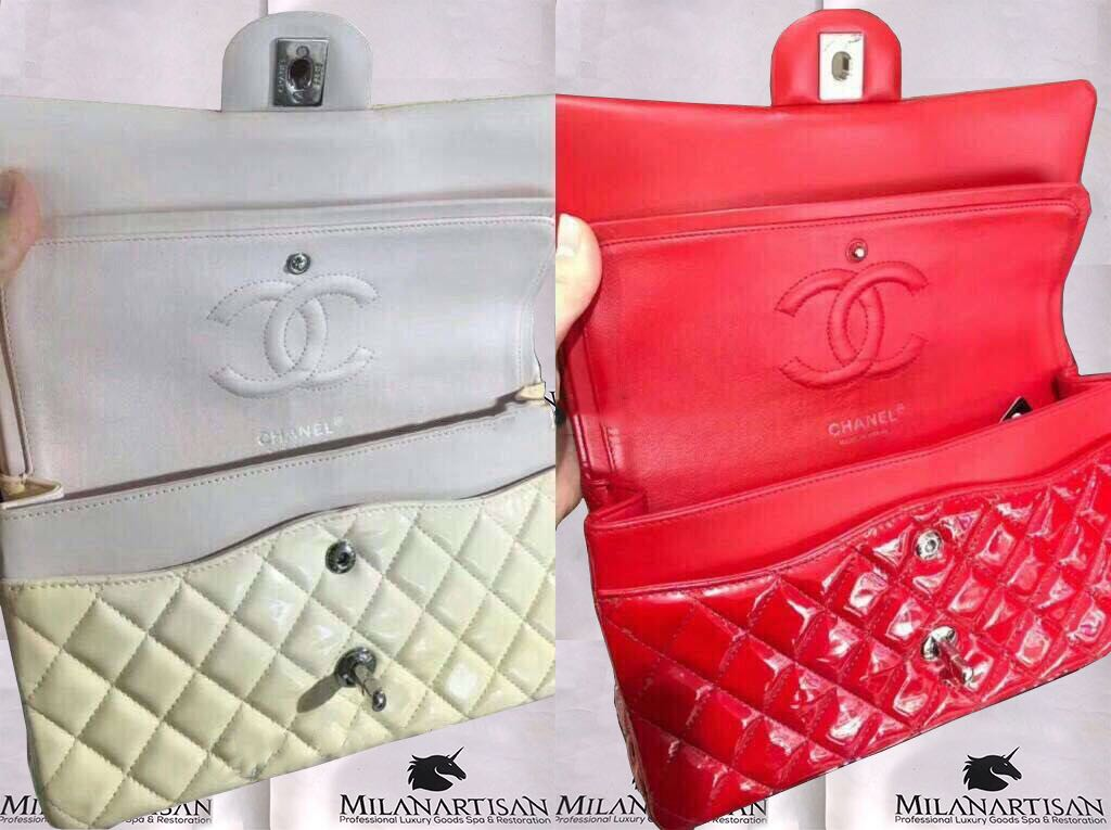 f9969cc0b796e7 COLOR CHANGE OF CHANEL PATENT CLASSIC CHAIN BAG FROM WHITE TO RED ...