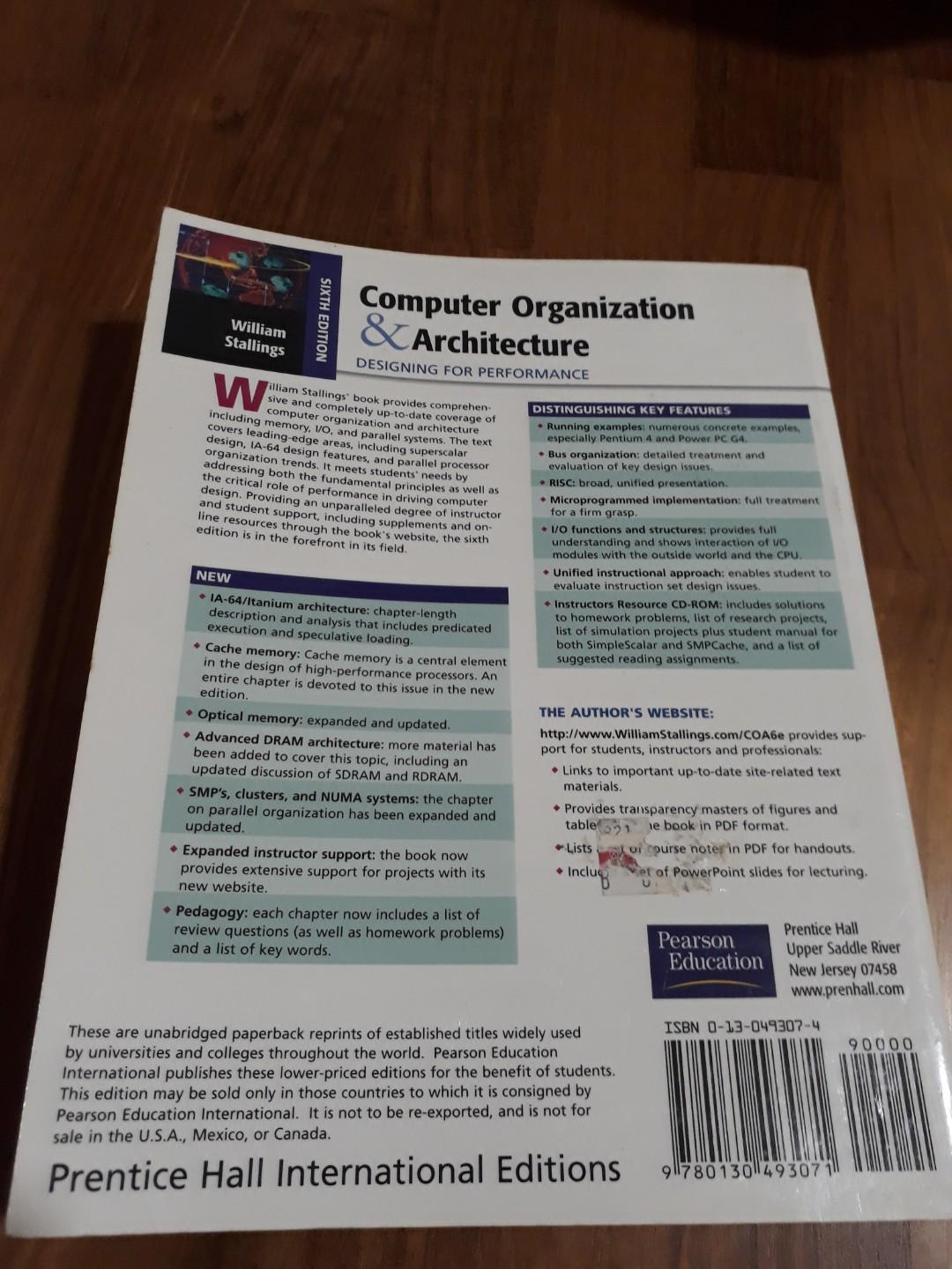 Computer Organization Architecture Designing For Performance Books Stationery Textbooks Professional Studies On Carousell