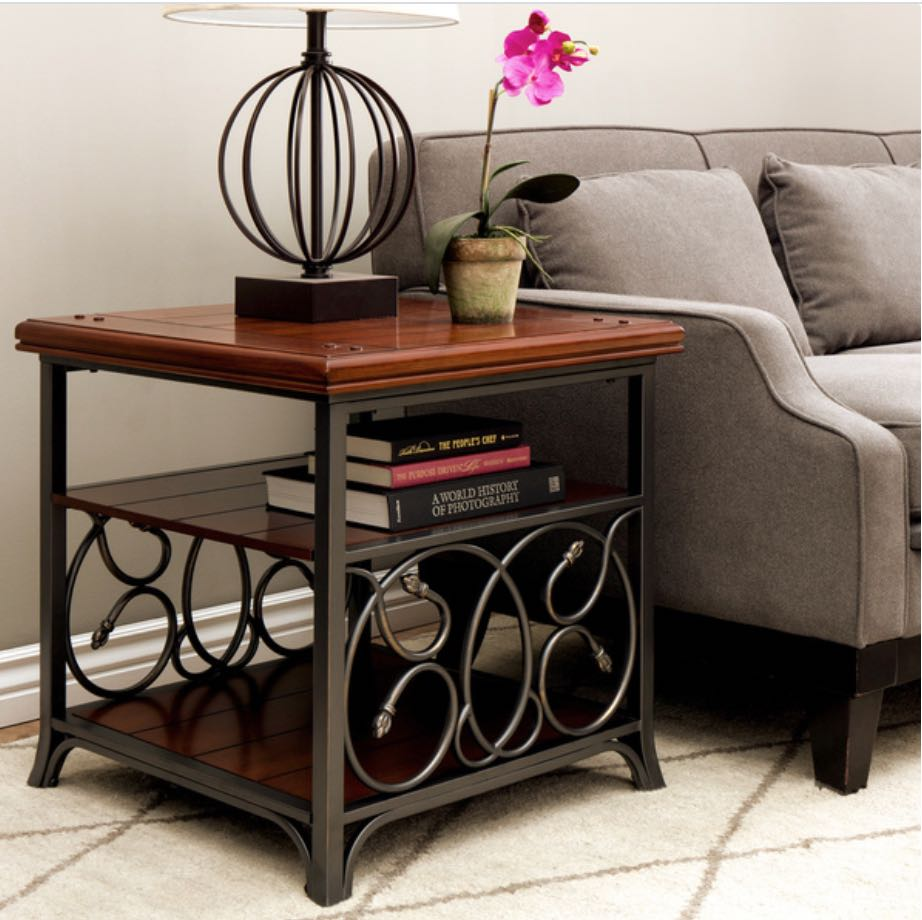 Designer Dark Wood Side Table With Metal Detail Furniture Tables