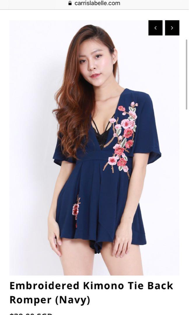 3791573e001 Embroidered Floral Kimono Tie-back romper