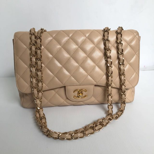 56f47a8d99bb7c FAST SALE! chanel classic flap jumbo beige cav GHW #13. Dustbag and  hologram (NO CARD), Luxury, Bags & Wallets, Handbags on Carousell